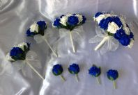 WEDDING PACKAGE ARTIFICIAL FLOWERS FOAM ROSE BRIDE BOUQUETS ROYAL BLUE & IVORY